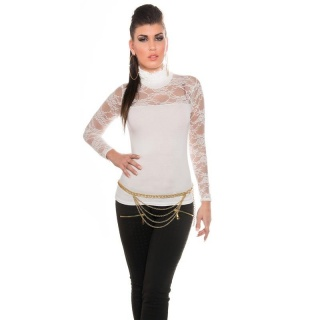 ELEGANT LONG-SLEEVED SHIRT WITH LACE AND STAND-UP COLLAR WHITE