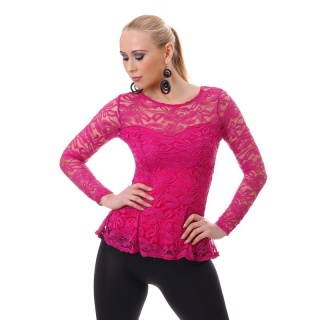 ELEGANT LONG-SLEEVED SHIRT TUNIC MADE OF LACE FUCHSIA