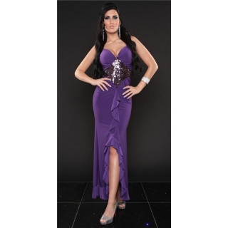 ELEGANT LATINO DRESS EVENING DRESS WITH SEQUINS PURPLE