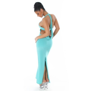 ELEGANT HALTERNECK EVENING DRESS TURQUOISE