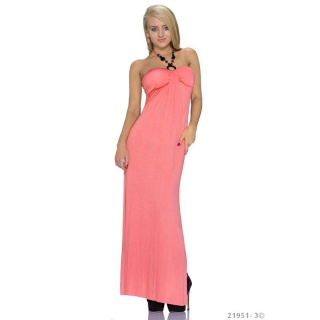 ELEGANT LONG HALTERNECK MAXI DRESS CORAL