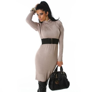 ELEGANT LONG KNITTED DRESS WITH BELT BEIGE