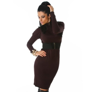 ELEGANT LONG KNITTED DRESS WITH BELT BROWN