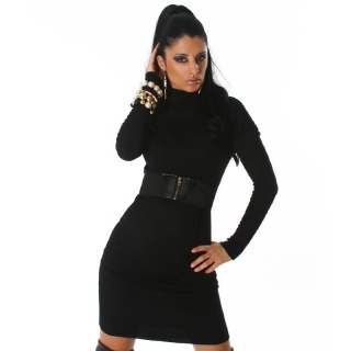 ELEGANT LONG KNITTED DRESS WITH BELT BLACK