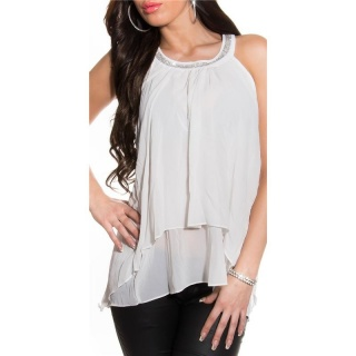 ELEGANTES LOOSE-FIT CHIFFON TOP MIT STRASS TRANSPARENT WEISS