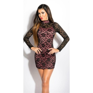 PRECIOUS LACE MINIDRESS WITH STAND-UP COLLAR BLACK/SALMON