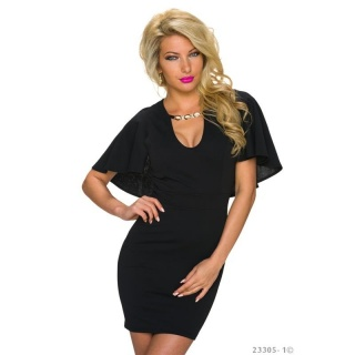 ELEGANT MINIDRESS EVENING DRESS WITH CAPE SLEEVES BLACK