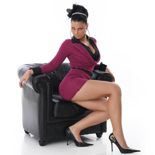 ELEGANT MINIDRESS IN DOUBLE-LOOK WITH BELT PURPLE / BLACK
