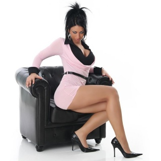 ELEGANT MINIDRESS IN DOUBLE-LOOK WITH BELT PINK / BLACK