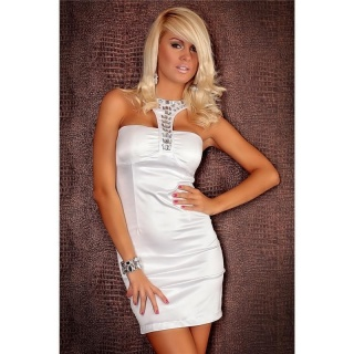 ELEGANT HALTERNECK EVENING DRESS SATIN WHITE