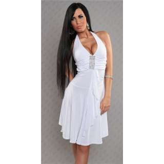 ELEGANT HALTERNECK EVENING DRESS RHINESTONE-LOOK WHITE