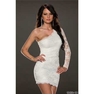 ELEGANT ONE-SHOULDER EVENING DRESS MADE OF LACE WHITE