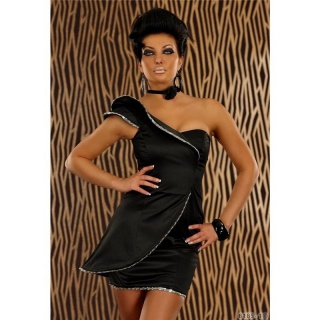 ELEGANTES ONE-SHOULDER ABENDKLEID MINIKLEID AUS SATIN SCHWARZ