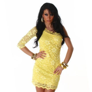 SEXY ONE-SHOULDER LACE EVENING DRESS YELLOW