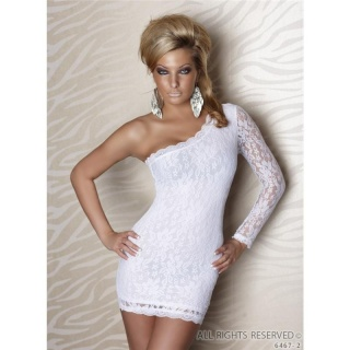 ELEGANT ONE-SHOULDER LACE EVENING DRESS MINIDRESS WHITE