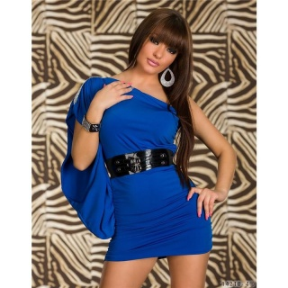 ELEGANT ONE-SHOULDER MINI DRESS WITH BELT ROYAL BLUE