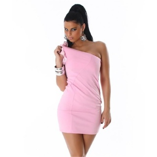ELEGANT ONE-SHOULDER MINIDRESS WITH QUILLINGS PINK