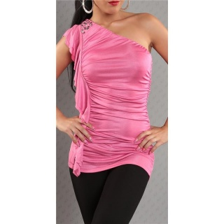 ELEGANT ONE-SHOULDER TOP WITH FLOUNCES FUCHSIA