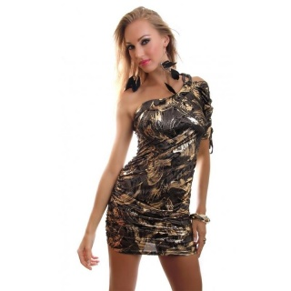 ELEGANT SHINING ONE-ARMED MINI DRESS PARTY DRESS BLACK/GOLD