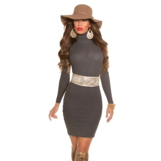 ELEGANT RIB-KNITTED MINIDRESS WITH TURTLE NECK ANTHRACITE