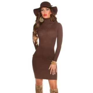ELEGANT RIB-KNITTED MINI DRESS WITH TURTLE NECK BROWN