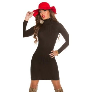 ELEGANT RIB-KNITTED MINIDRESS WITH TURTLE NECK BLACK