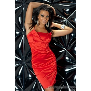 GLAMOROUS SATIN EVENING DRESS RED
