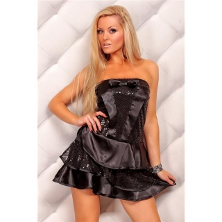 ELEGANTES SATIN PAILLETTEN-KLEID BANDEAU KLEID PARTY SCHWARZ