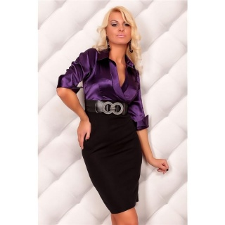 PRECIOUS SATIN PENCIL DRESS WITH BELT BLACK/PURPLE
