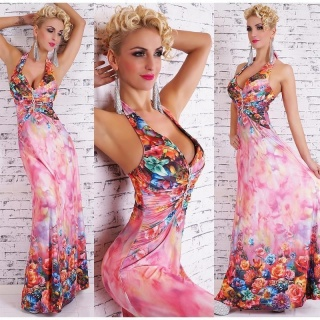 ELEGANT FLOOR-LENGTH SUMMER MAXI DRESS WITH FLORAL PATTERN FUCHSIA