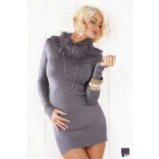 ELEGANT KNITTED MINIDRESS WITH ARTIFICIAL FUR GREY