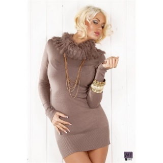 ELEGANT KNITTED MINIDRESS WITH ARTIFICIAL FUR LATTE MACCHIATO