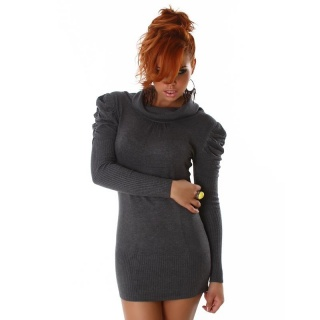 ELEGANT KNITTED MINIDRESS WITH PUFF SLEEVES DARK GREY