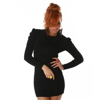 ELEGANT KNITTED MINIDRESS WITH PUFF SLEEVES BLACK