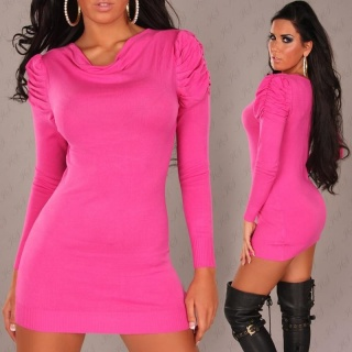 ELEGANT KNITTED MINIDRESS FUCHSIA