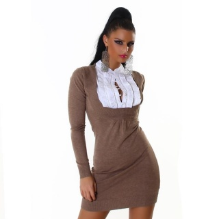ELEGANT FINE KNITTED MINIDRESS WITH BLOUSE-INSET CAPPUCCINO