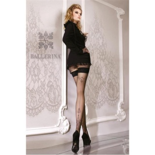 EXCLUSIVE BALLERINA HOLD-UP NYLON STOCKINGS WITH LACE TOP BLACK
