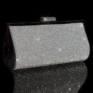EXCLUSIVE LUXURY GLAMOUR CLUTCH BAG WITH RHINESTONES SILVER
