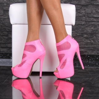EXCLUSIVE PLATFORM ANKLE BOOTS PEEP TOE HIGH HEELS NEON-FUCHSIA