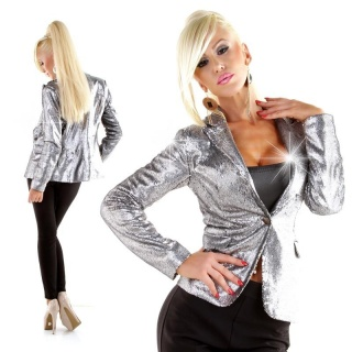 EXCLUSIVE GLAMOUR BLAZER JACKET WITH SEQUINS PARTY PLATINUM