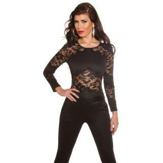 EXCLUSIVE OVERALL JUMPSUIT WITH LACE AND LEATHER-LOOK BLACK