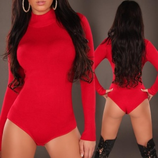 FEMININE FINE-KNITTED BODY SWEATER RED