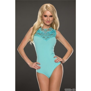 FEMININE SLEEVELESS BODY-SHIRT WITH LACE AQUA
