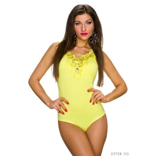 FEMININE BODY-TOP WITH EMBROIDERIES AT THE NECKLINE YELLOW
