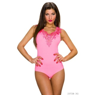 FEMININE BODY TOP WITH EMBROIDERIES AT THE NECKLINE NEON-PINK