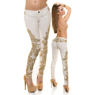 SEXY SKINNY DRAINPIPE PANTS IN LEATHER-LOOK WITH EMBROIDERY CREAM