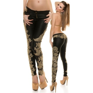 SEXY SKINNY DRAINPIPE PANTS IN LEATHER-LOOK WITH EMBROIDERY BLACK