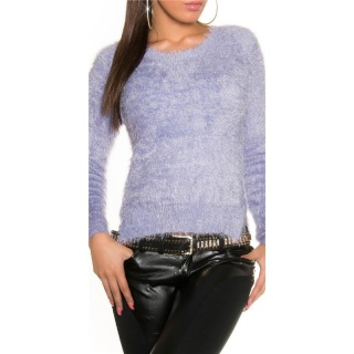 SOFT AND FLUFFY SWEATER JUMPER MADE OF FANCY YARN LILAC