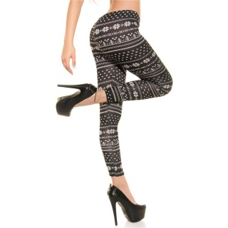 CUDDLY LEGGINGS IN TRENDY NORWEGIAN DESIGN BLACK/WHITE