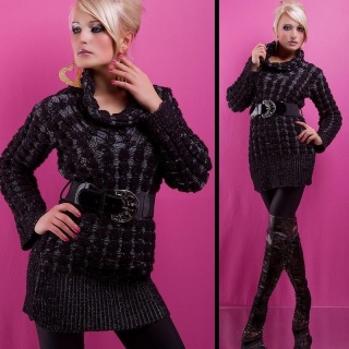 FLEECY STYLISH CABLE-KNIT SWEATER WITH BELT  BLACK